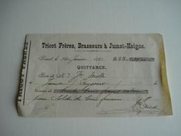 Quittance 1887 Reçu , Tricot Frères , Brasseurs Brasseur à Jumet Heigne , Pour Solde De Bière Fournie - 1800 – 1899