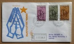 FDC Vaticano 1966 - Natale - Natività - Busta Venetia Raccomandata Viaggiata - Francobolli