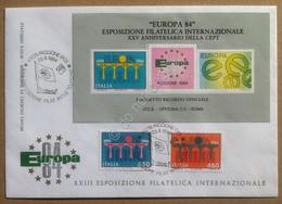 Italia 1984 Europa CEPT Busta Ufficiale Esposizione Filatelica Foglietto Ricordo - Francobolli