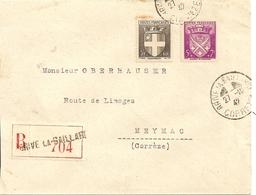 Lettre Recommandée Brive La Gaillarde   A Meynac 1942 - Marcophilie (Lettres)