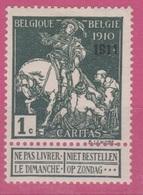 Belgique - 1911 - *  - COB 93 - 1 C - CARITAS - Surcharge 1911 - Valeur 60 - 1910-1911 Caritas