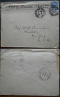 Tematiche Albergo 1908 Busta Del Hotel Riviera Di Napoli Per Gli USA, Nome Dell'hotel. - 1900-44 Vittorio Emanuele III