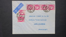Lettre De Marseille Pour Fort De France Martinique  Avril 194?  Controle Postal Au Verso  Affr. Ceres Mazelin 18 Fr - Marcophilie (Lettres)