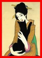 CPSM/gf CHAT.  Jolie Japonaise Et Son Chat Noir, Glacé...D359 - Chats