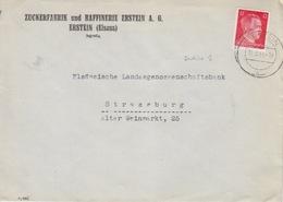 P Lettre à Entête (Zuckerfabrik Erstein) Obl Erstein (T325 Erstein B) Sur TP Reich 12pf=1°éch Le 15/3/44 - Elzas-Lotharingen