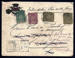 CP 4- RARE LETTRE AVEC V.D. DE 10 000 Fr- TIMBRAGE  SAGE A 2,55 Fr DE 1896- TAMPON DE CHARGE + 5 CACHETS CIRE- 3 SCANS - Marcophilie (Lettres)