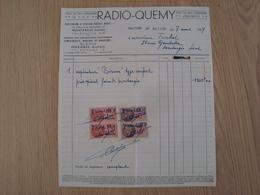 FACTURE RADIO-QUEMY TSF MONTARGIS 1939 - France