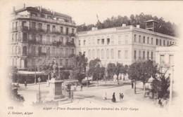 ALGERIE. ALGER. CPA. PLACE BUGEAUD ET QUARTIER GÉNÉRAL DU XIX E CORPS - Algerien