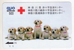 JAPON CARTE QUO PREPAYE CROIX ROUGE CHIENS - Télécartes