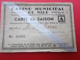 1940 WW2 CASINO MUNICIPAL NICE CARTE SAISON PRIX RÉDUIT THÉÂTRE Ticket Billet Entrée Entry Entrance-Biglietto D'ingresso - Tickets D'entrée