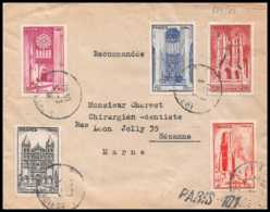 9548 N°663/667 Cathedrales Church Serie Complete Sezanne Marne 1946 France Lettre Cover - 1921-1960: Période Moderne