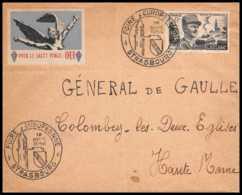 9575 Adressee General De Gaulle Vignette Pour Le Salut Public N°815 Leclerc France Lettre Cover - Cachets Commémoratifs