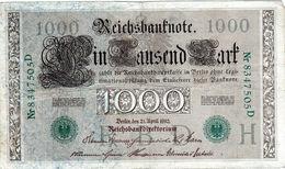 Billet Allemand De 1000 Mark Le 21 Avril 1910 - 7 Chiffres Vert En T B - - [ 2] 1871-1918 : German Empire