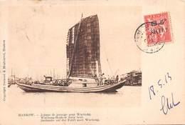 CHINE - HANKOW - Jonque De Passage Pour Wuchang. Edit Bernard & Monhonval,Hankow  Voyagée 1913 - China