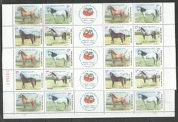 10x IRAN - MNH - Animals - Horses - Full Folded Sheets - Chevaux