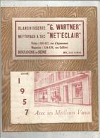 Calendrier Grandformat ,1957 ,2 Scans , Blanchisserie G. Wartner ,NET'ECLAIR , Boulogne Sur Seine ,frais Fr 3.15 E - Kalender