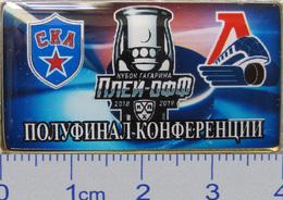 686-10 Space - Sport Russian Pin Hocky Gagarin Cup SKA (St.-Petersburg) - Locomotive (Yaroslavl) 2018-19 (40х22mm) - Space