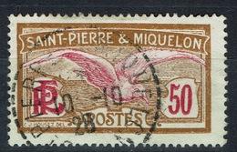 Saint Pierre And Miquelon, Bird, Seagull, 50c, 1922, MH VF Nice Postmark - St.Pierre & Miquelon