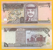 Jordan 1/2 (half) Dinar P-28b 1997 UNC Banknote - Jordanien