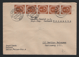 Germany 1951 Posthorn 4pfg X 5 On Cover Cancelled 26/8/52  (Ref: 1237) - [7] Federal Republic