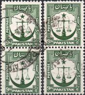 PAKISTAN 1948 - BILANCIA DELLA GIUSTIZIA SU MEZZALUNA - 4 VALORI USATI - Pakistan