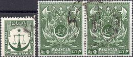 PAKISTAN 1948/1951 - BILANCIA DELLA GIUSTIZIA SU MEZZALUNA + GIORNO DELL'INDIPENDENZA, ACANTO - 3 VALORI USATI - Pakistan