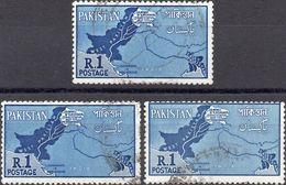 PAKISTAN 1960 - RIVENDICAZIONE ZONE CONTESE - 3 VALORI USATI - Pakistan