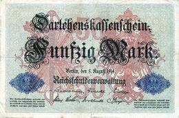 Billet Allemand De 50 Mark Le 5-août-1914-7 Chiffres En T B - [ 2] 1871-1918 : Duitse Rijk