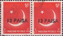 PAKISTAN 1961 - LUNA CRESCENTE E STELLA - 2 VALORI SOPRASTAMPATI  USATI - Pakistan