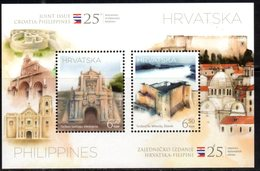 CROATIA, 2018, MNH, JOINT ISSUE WITH PHILIPPINES, FORTS, ARCHITECTURE, FLAGS, SHEETLET - Joint Issues