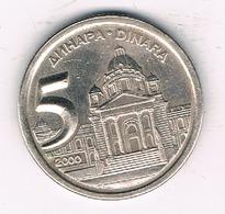 5 DINAR  2000 JOEGOSLAVIE /3453/ - Yougoslavie
