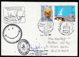 """ANTARCTIC,ARGENTINA,4.2.2007, 4 Cachets """"ALMIRANTE IRIZAR""""-DAMAGED By Fire,look Scans !! 8.3-11 - Stamps"""