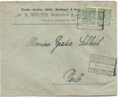 Brief - N. Welter, Fisch-, Krebs-, Wild-, Geflügel- & Hefe-Handlung, Bettendorf - Stempel 14-06-1911 - Luxembourg