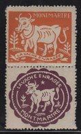 Montmartre - Commune Libre - La Vache Enragee - Commemorative Labels