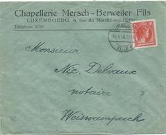 Brief - Luxembourg, Chapellerie Mersch-Berweiler Fils - Stempel 24-04-1946 - Luxembourg