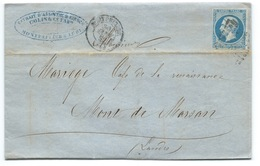 ENVELOPPE / N° 14 NAPOLEON MONTPELLIER POUR MONT DE MARSAN  / 30 JANV 1862 / FACTURE ABSINTHE WERMUTH KIRSCH - Postmark Collection (Covers)