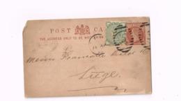 Entier Postal à 1/2 Penny. Expédié De Londres à Liège (Belgique) - Entiers Postaux
