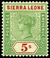 Sierra Leon,  1896 , Crown CA , 5/, SG.52 ,scarce , MNH ** - Unclassified