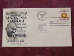 USA 1961 FDC Cover Washington - Mahatma Gandhi - India - Champion Of Liberty - United States