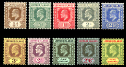 Leeward Island ,1907 Multy Crown CA , SG.36/45. CV$150 ,scarce , MNH ** - Unclassified