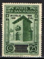 SAN MARINO - 1943 - CADUTA DEL FASCISMO - SENZA GOMMA - San Marino
