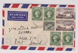 AIRMAIL ENVELOPPE CIRCULEE 1956 VICTORIA A ISRAEL - BLEUP - 1952-65 Elizabeth II: IEmissione Prima Decimali