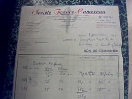 Facture Sociètè France Camèroun A Yaoundè Et Douala Annèe 1954 Textille - Textile & Vestimentaire