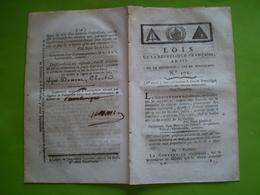 Lois An III:Mérite à L'Armée Des Alpes & D'Italie.Amnistie & Congés Militaires.Pièces Or & Argen. Certifié Pont L'Evêque - Décrets & Lois