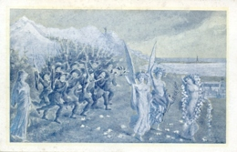 Italia Cartolina Illustrata 1911 75° Anniversario Corpo Dei Bersaglieri Immagine In Colore Ciano - Patriottiche