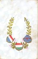 Italia Cartolina Illustrata Bandiere Italia Francia Gran Bretagna Colorata A Mano - Patriottiche