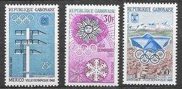 Gabon N°212 à 214 Sport JO Grenoble 1967 ** - Gabon