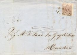 Lombardo Veneto 1856 Lettera Da Rovigo Per Mantova Con 30 Cent Carta A Macchina Margine Di Foglio A Destra - Lombardo-Veneto
