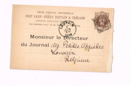 Entier Postal à 1 Penny. Expédié De London à Louvain (Belgique) - Entiers Postaux