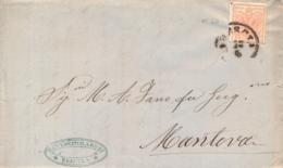 Lombardo Veneto 1857 Lettera Da Brescia Per Mantova Con 15 Cent Carta A Macchina - Lombardo-Veneto